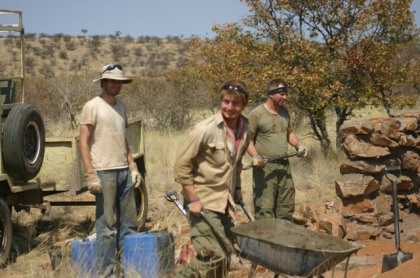 Volunteers working on wall in Namibia