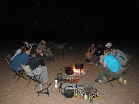 Sitting around fire