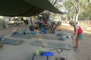 Volunteers camp beds