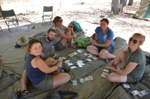 Volunteers playing cards