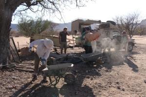 Volunteers preparing for wall building