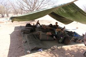 Volunteers resting