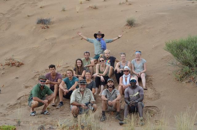 Volunteers on sand